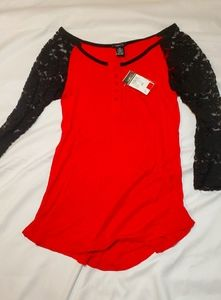 Red and Black mid sleeve top